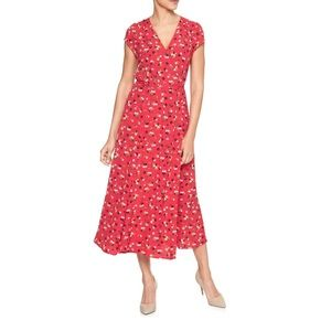 Gap Floral Print Wrap Midi Dress